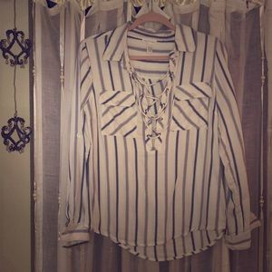 Soft cotton stripe lace up beach pullover top